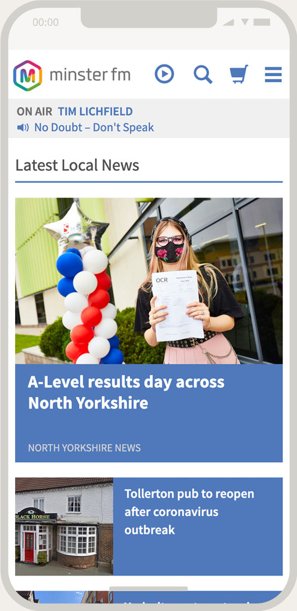 Minster FM Homepage – Mobile View