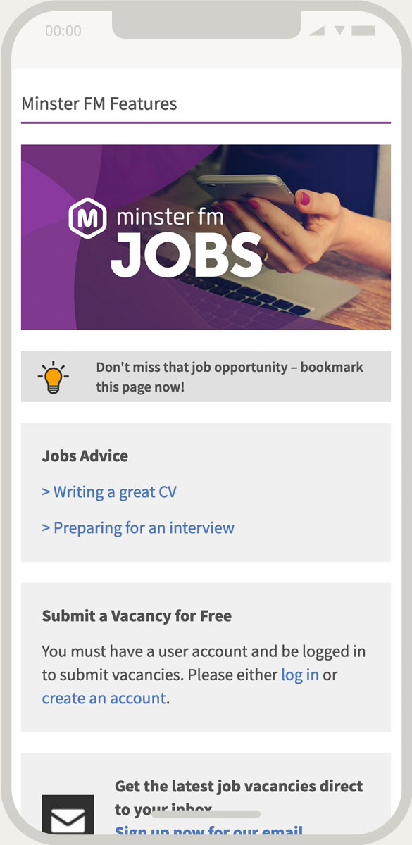 Minster FM Jobs – Mobile View