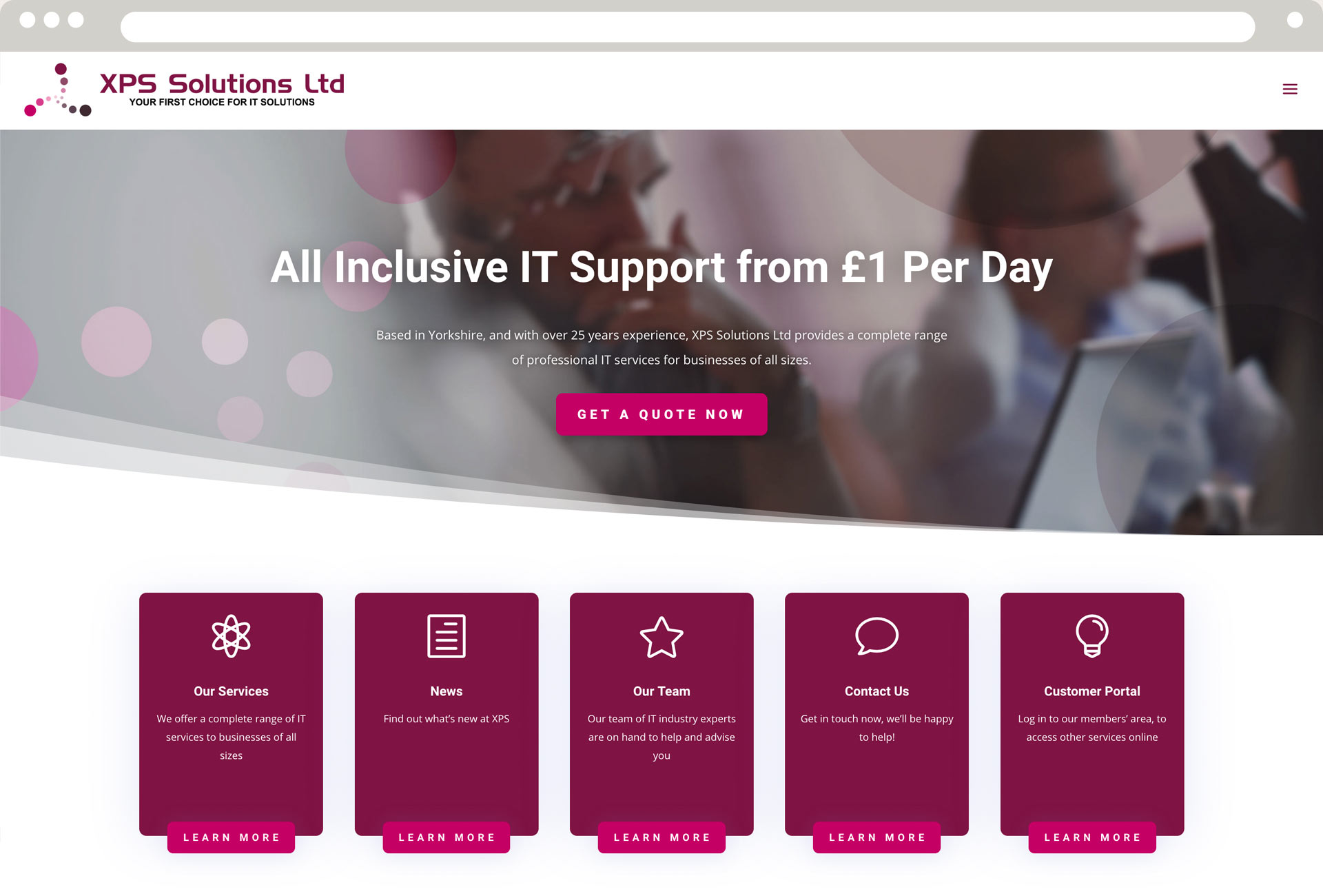 XPS Solutions Homepage - Desktop View