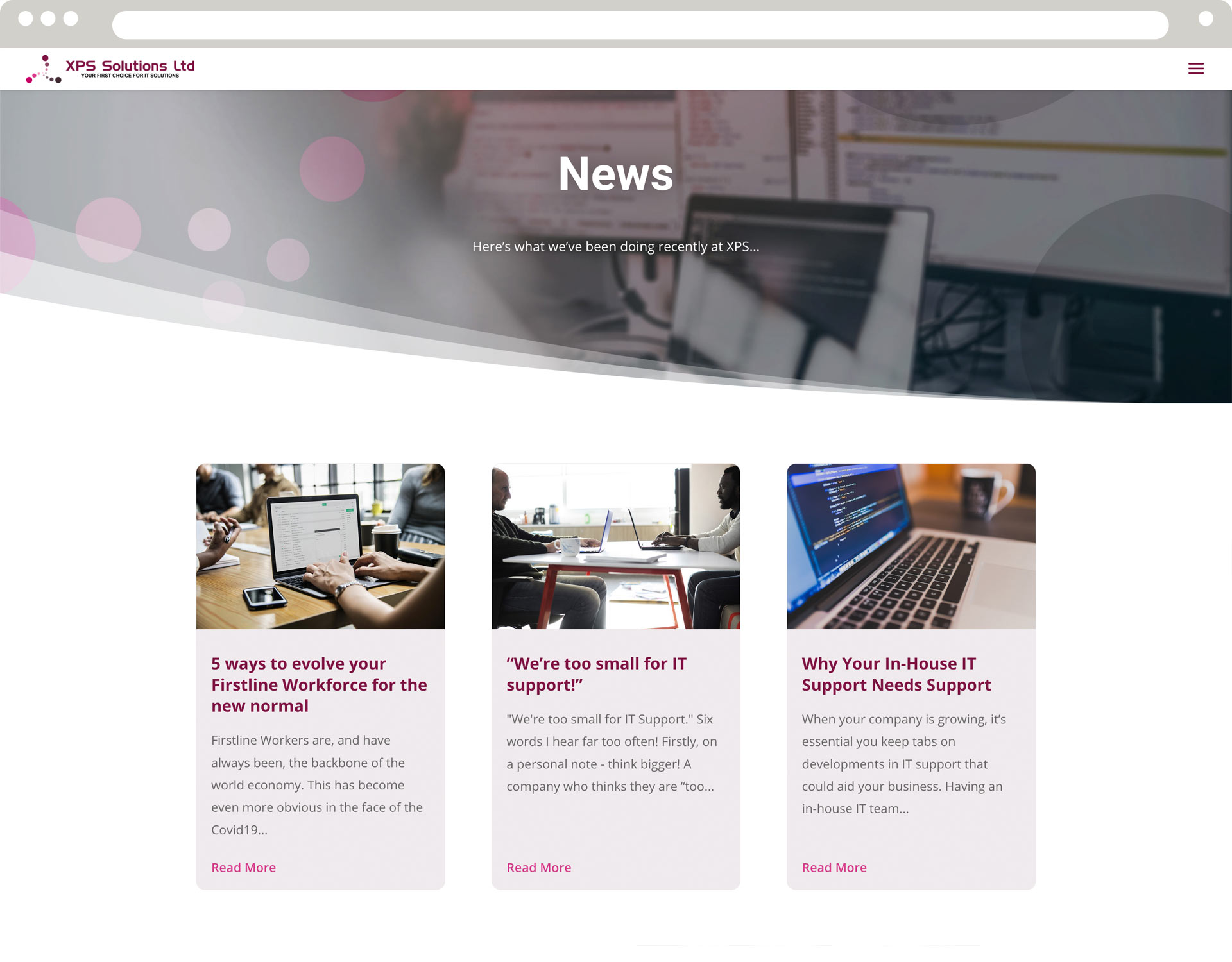 XPS Solutions News page mobie view