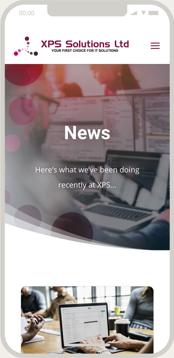 XPS Solutions News page mobile view